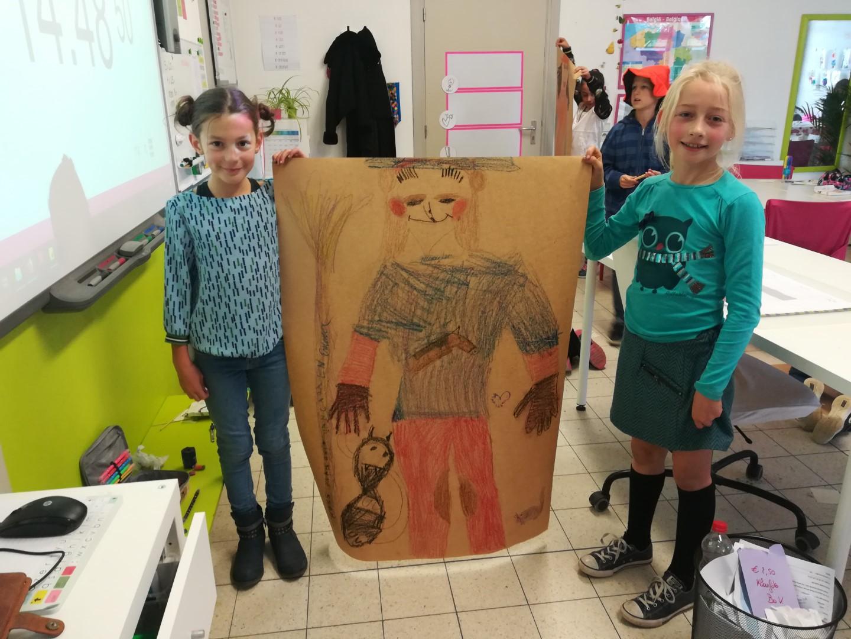 Griezelachtergrond schilderen: muzische namiddag oktober 4de leerjaar