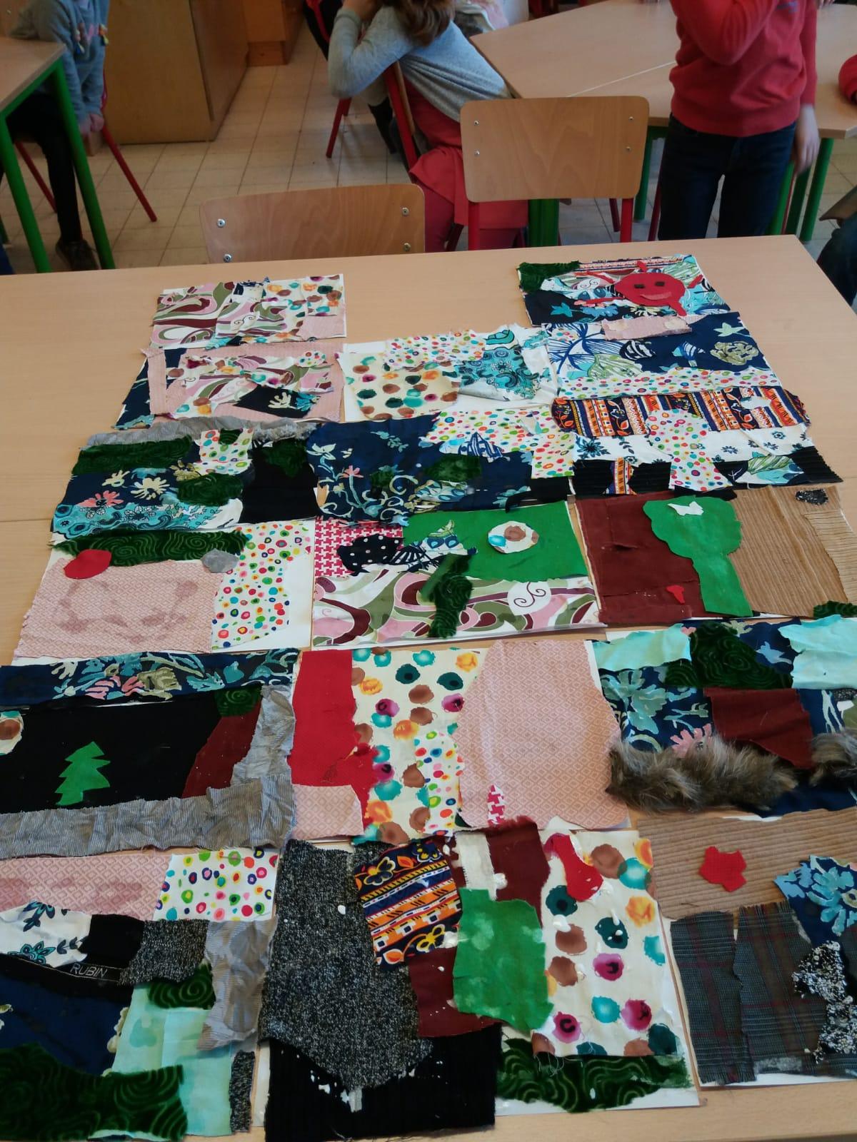 Muzische namiddag in 3B: kunstwerken met textiel
